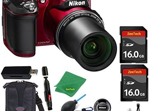 Nikon COOLPIX L840 Digital Camera (WHITE BOX) Optical Zoom and Built-In Wi-Fi (Red) ZeeTech Bundle with 6pc Starter Kit + Case + Lens Cleaning Pen + Blower Brush + 2pcs 16GB Memory Cards + Reader