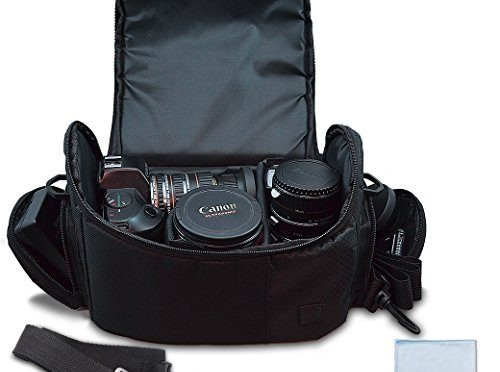 Large Digital Camera / Video Padded Carrying Bag / Case for Nikon, Sony, Pentax, Olympus Panasonic, Samsung, and Canon DSLR Cameras + eCostConnection Microfiber Cloth
